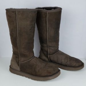 UGG Tall Brown Leather Boots Size 8